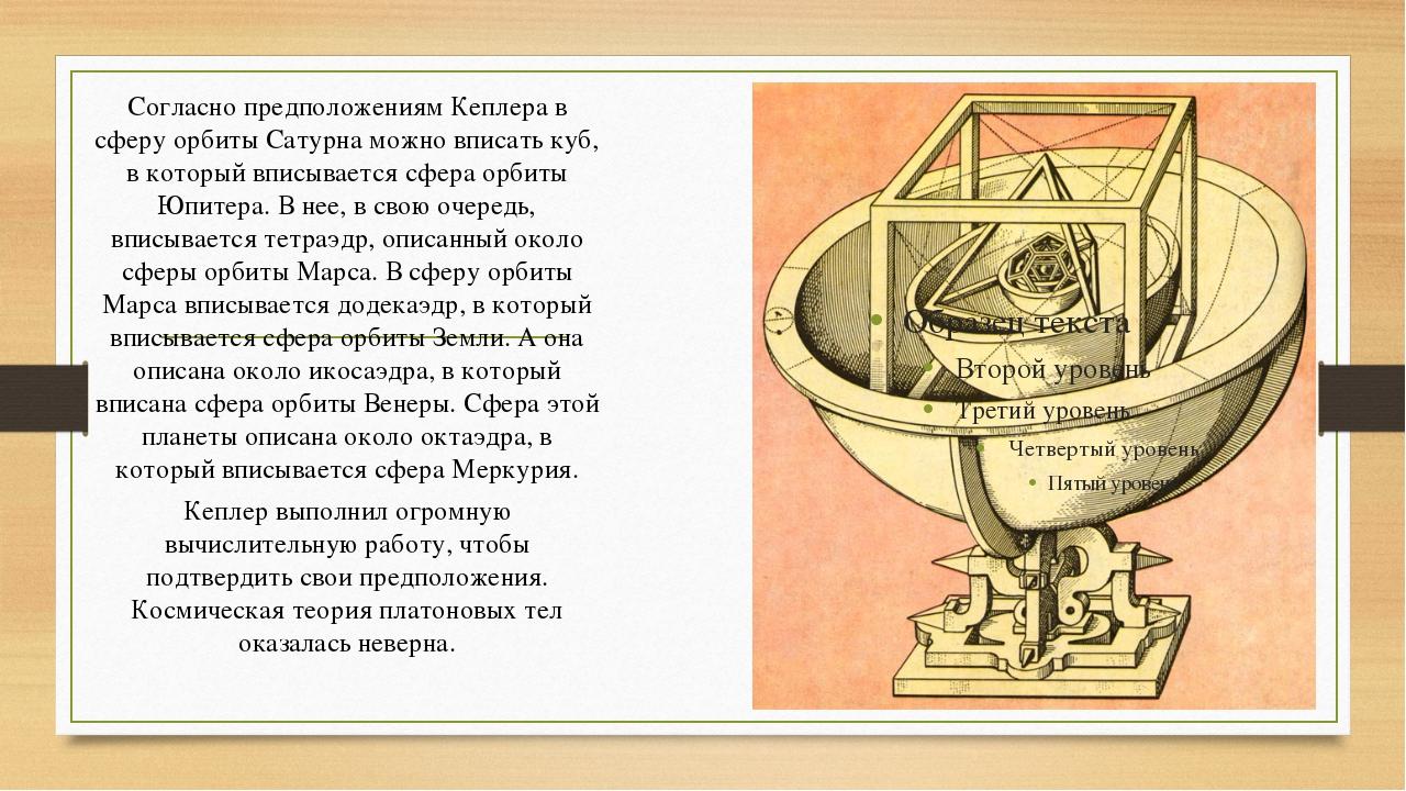 Согласно предположениям Кеплера в сферу орбиты Сатурна можно вписать куб, в к...