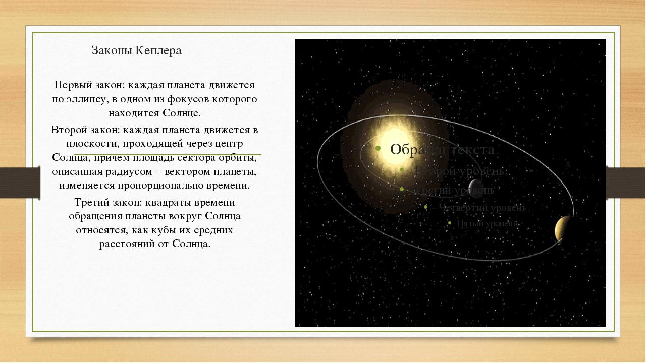 Законы Кеплера Первый закон: каждая планета движется по эллипсу, в одном из ф...