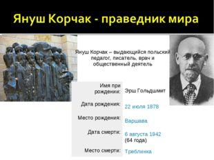 Януш Корчак – выдающийся польский педагог, писатель, врач и общественный деят