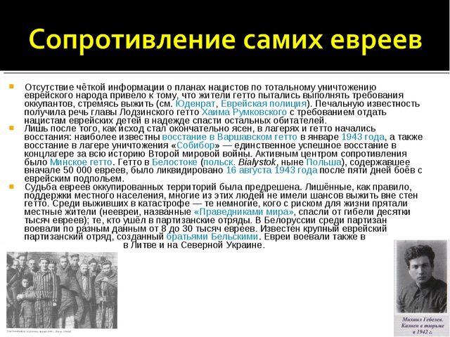 Отсутствие чёткой информации о планах нацистов по тотальному уничтожению евре...