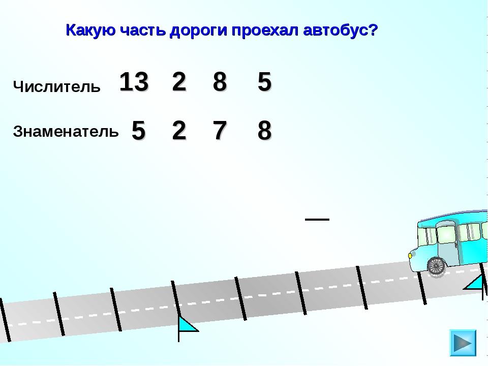 Какую часть дороги проехал автобус? Числитель 5 13 8 2 Знаменатель 5 2 7 8