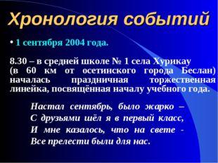 Хронология событий 1 сентября 2004 года. 8.30 – в средней школе № 1 села Хури