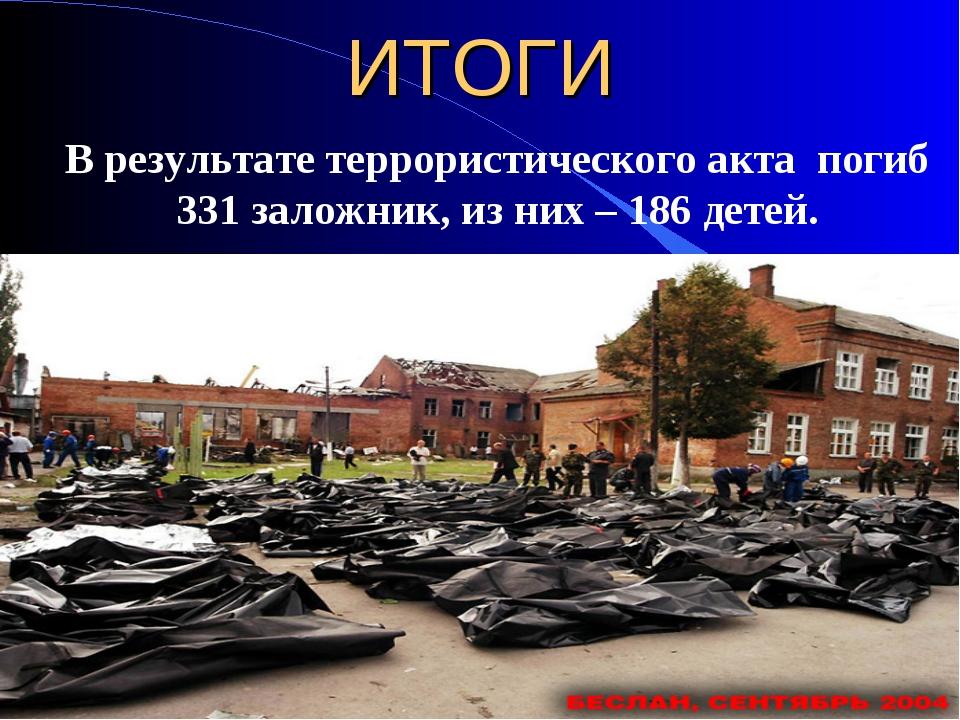 ИТОГИ В результате террористического акта погиб 331 заложник, из них – 186 де...
