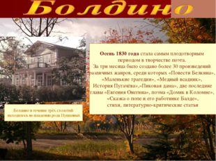 Болдино в течение трёх столетий находилось во владении рода Пушкиных Осень 18