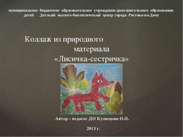 Автор - педагог ДО Кузнецова О.Н. 2013 г. муниципальное бюджетное образовател...