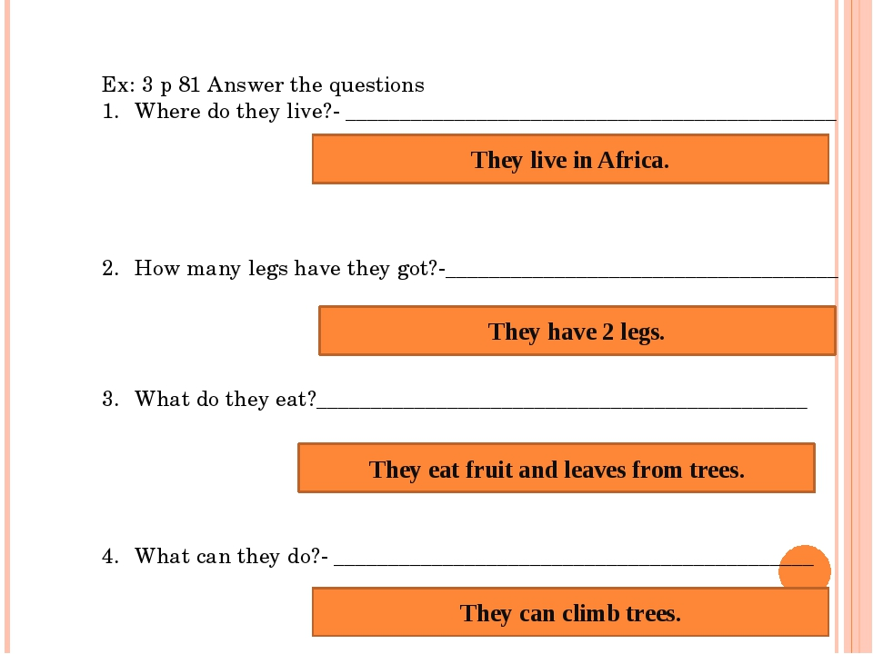 Ex: 3 p 81 Answer the questions Where do they live?- ________________________...