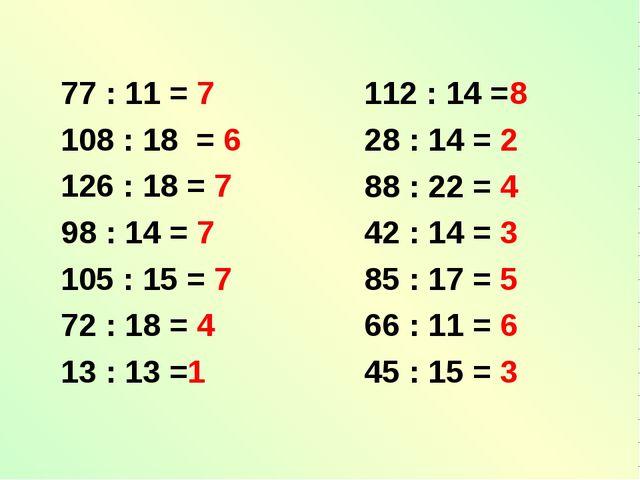 77 : 11 = 7 108 : 18 = 6 126 : 18 = 7 98 : 14 = 7 105 : 15 = 7 72 : 18 = 4 13...