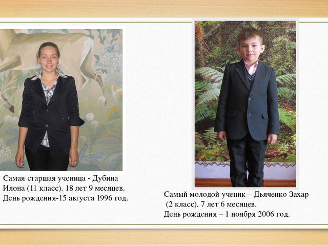 Самая старшая ученица - Дубина Илона (11 класс). 18 лет 9 месяцев. День рожде...