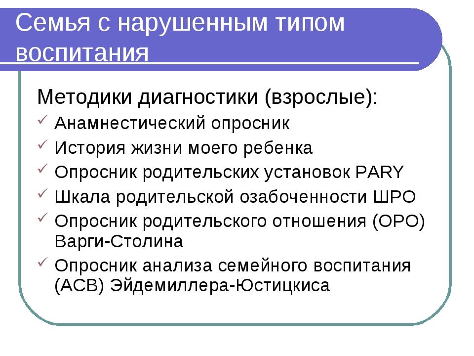 Семья с нарушенным типом воспитания Методики диагностики (взрослые): Анамнест...