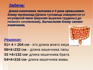 Задача: Длина кишечника человека в 4 раза превышает длину туловища (Длина ту