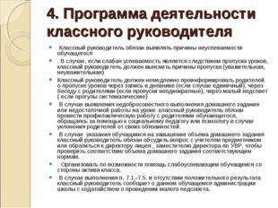 4. Программа деятельности классного руководителя Классный руководитель обязан
