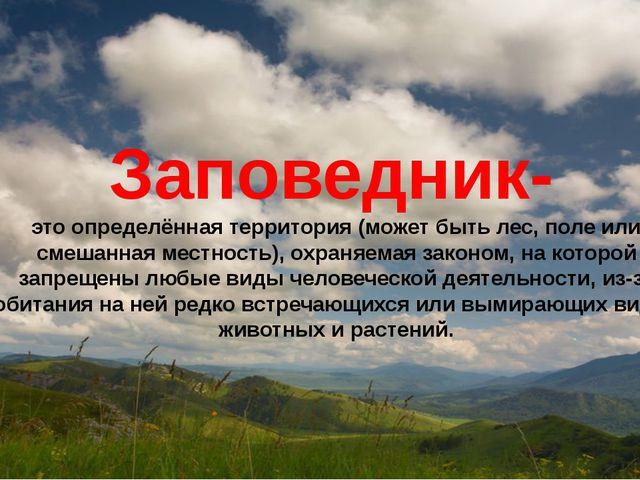 Заповедник-  это определённая территория (может быть лес, поле или смешанная...