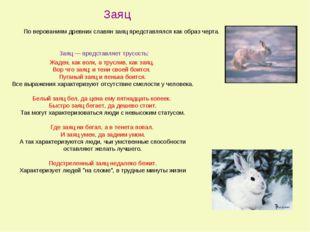 Заяц — представляет трусость: Жаден, как волк, а труслив, как заяц. Вор что