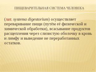 (лат.systema digestorium) осуществляет переваривание пищи (путём её физическ