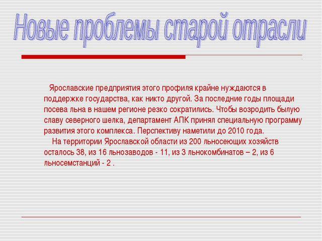 Ярославские предприятия этого профиля крайне нуждаются в поддержке государст...
