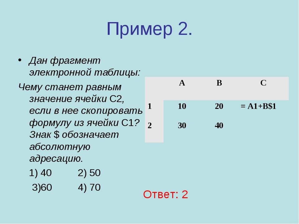 Пример 2. Дан фрагмент электронной таблицы: Чему станет равным значение ячейк...