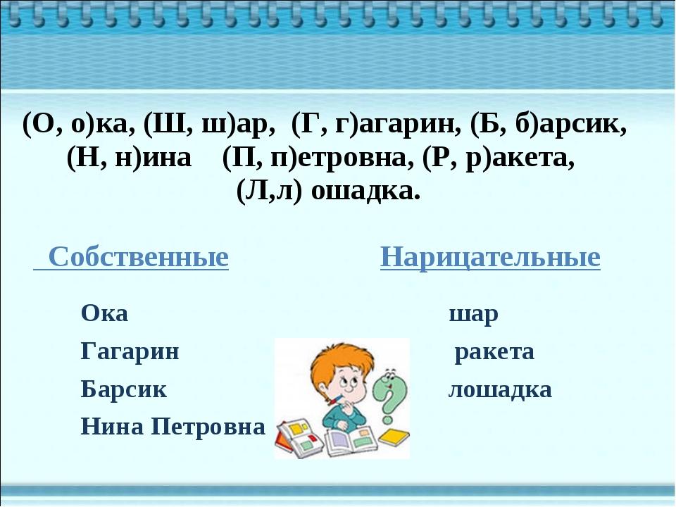 Ока шар Гагарин ракета Барсик лошадка Нина Петровна Собственные Нарицательные...