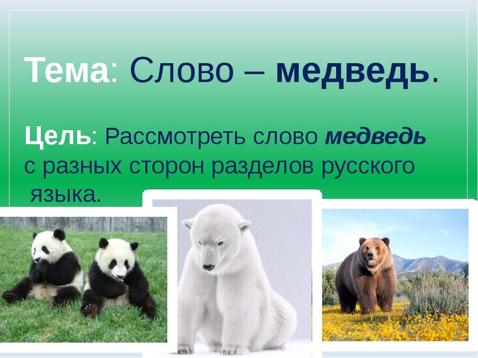 Тема: Слово – медведь. Цель: Рассмотреть слово медведь с разных сторон разде...