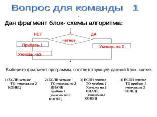 Дан фрагмент блок- схемы алгоритма: Выберите фрагмент программы, соответству