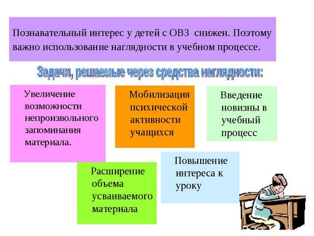 Познавательный интерес у детей с ОВЗ снижен. Поэтому важно использование нагл...