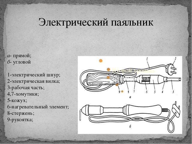 Электрический паяльник а- прямой; б- угловой 1-электрический шнур; 2-электрич...