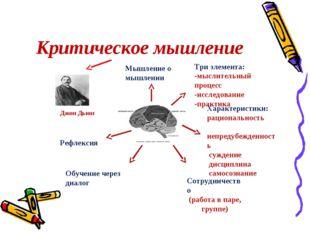 Критическое мышление Джон Дьюи Мышление о мышлении Три элемента: -мыслительны