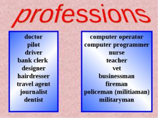 doctor pilot driver bank clerk designer hairdresser travel agent journalist d