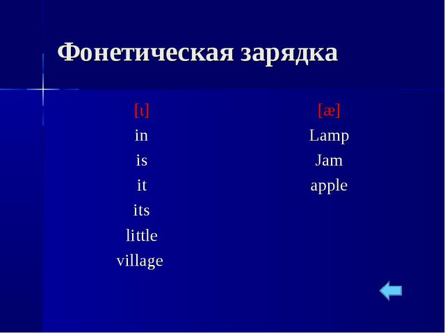 Фонетическая зарядка [ι] in is it its little village [æ] Lamp Jam apple