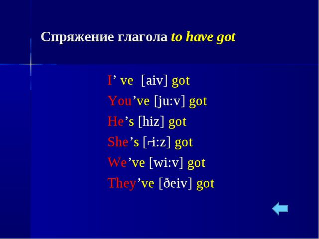 Спряжение глагола to have got I' ve [aiv] got You've [ju:v] got He's [hiz] go...