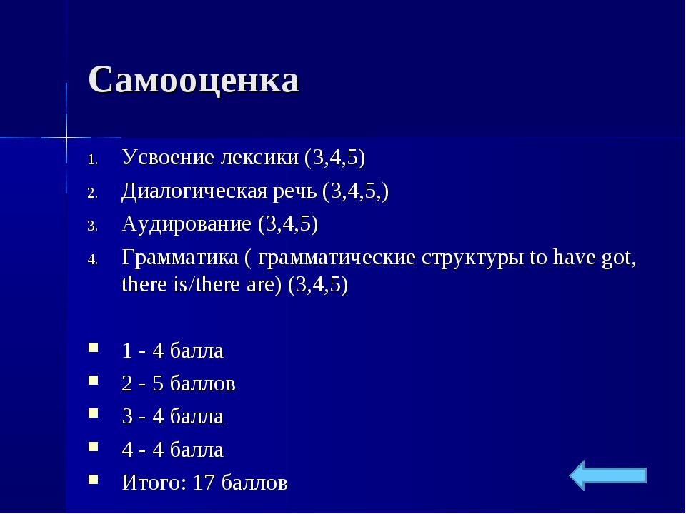 Самооценка Усвоение лексики (3,4,5) Диалогическая речь (3,4,5,) Аудирование (...