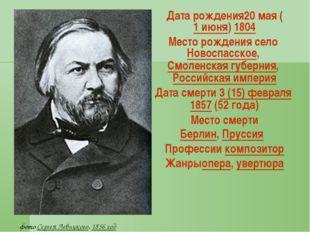 Датарождения20мая (1июня) 1804 Месторождения село Новоспасское, Смоленск
