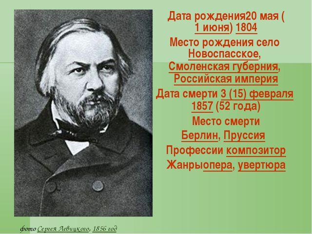 Датарождения20мая (1июня) 1804 Месторождения село Новоспасское, Смоленск...