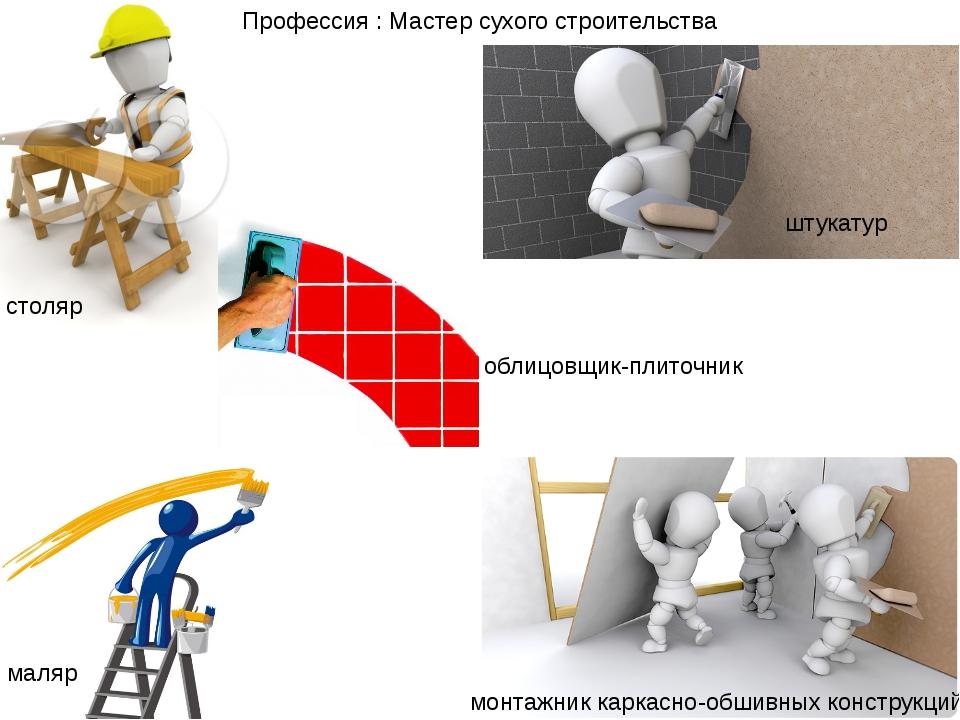 столяр штукатур маляр монтажник каркасно-обшивных конструкций Профессия : Мас...