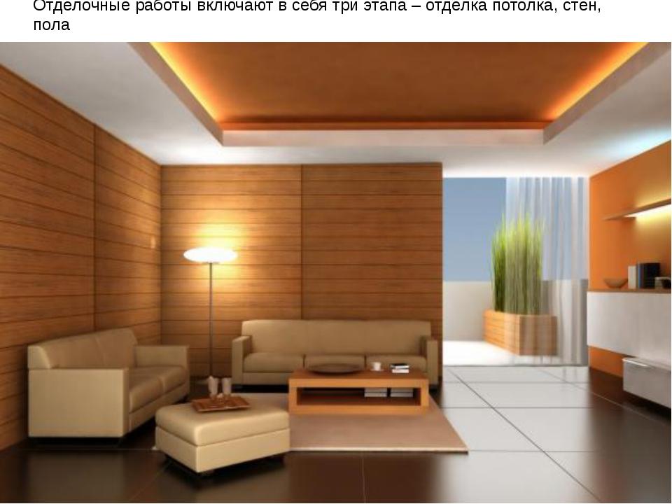Отделочные работы включают в себя три этапа – отделка потолка, стен, пола