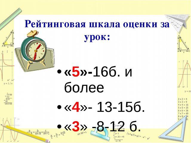 «5»-16б. и более «4»- 13-15б. «3» -8-12 б. Рейтинговая шкала оценки за урок: