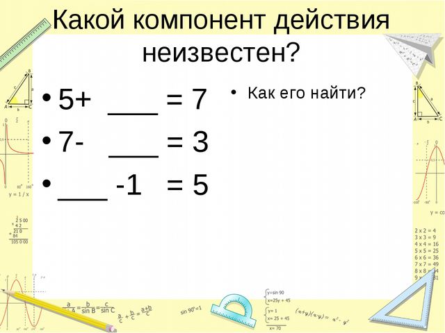 Какой компонент действия неизвестен? 5+ ___ = 7 7- ___ = 3 ___ -1 = 5 Как его...