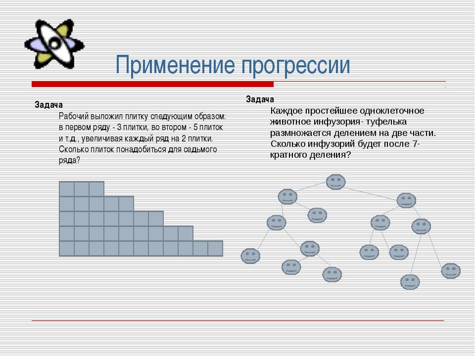 Применение прогрессии Задача Рабочий выложил плитку следующим образом: в перв...