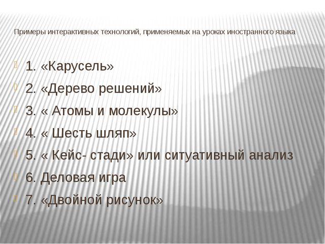 Примеры интерактивных технологий, применяемых на уроках иностранного языка 1....