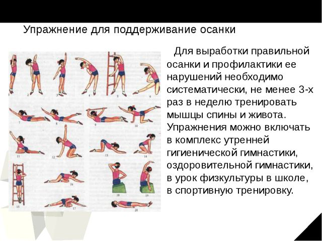 Упражнение для поддерживание осанки Для выработки правильной осанки и профила...