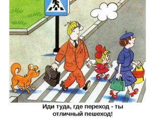 Иди туда, где переход - ты отличный пешеход!