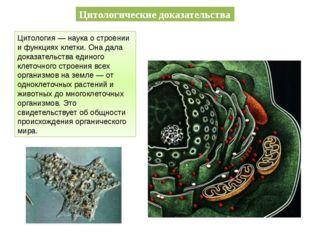 Цитологические доказательства Цитология — наука о строении и функциях клетки.
