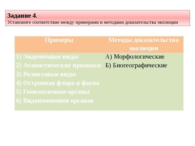 Задание 4. Установите соответствие между примерами и методами доказательства...
