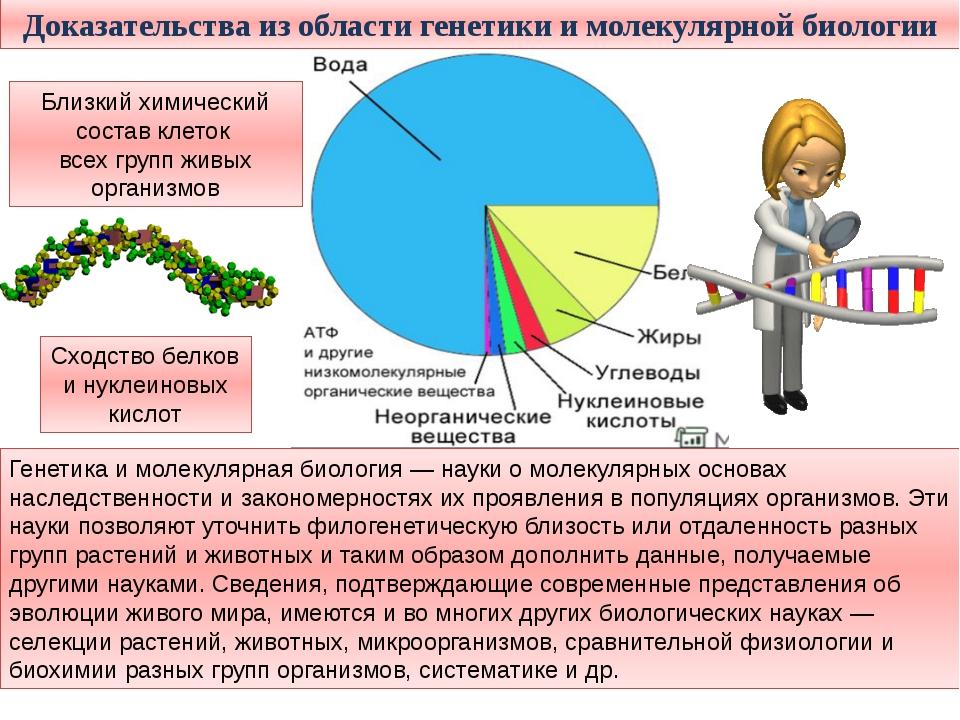Доказательства из области генетики и молекулярной биологии Генетика и молекул...