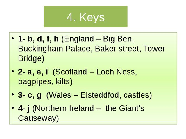 4. Keys 1- b, d, f, h (England – Big Ben, Buckingham Palace, Baker street, To...