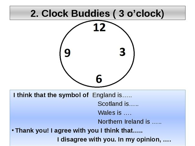 2. Clock Buddies ( 3 o'clock) I think that the symbol of England is….. Scotla...