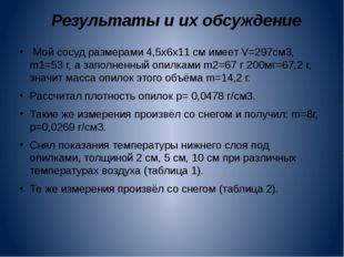 Результаты и их обсуждение  Мой сосуд размерами 4,5х6х11 см имеет V=297см3,