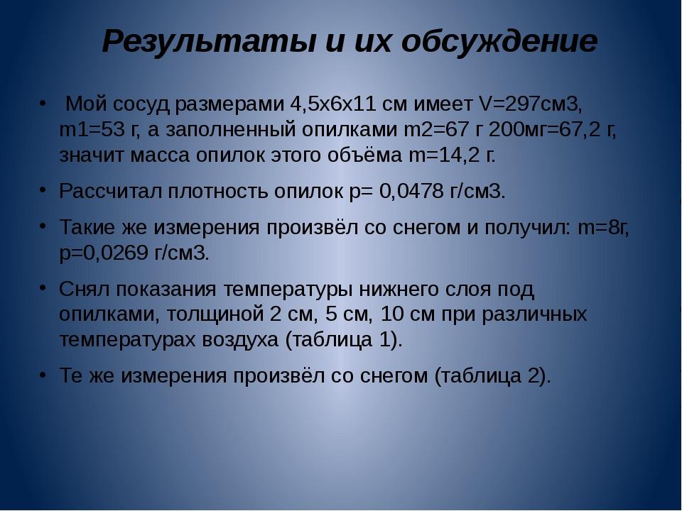 Результаты и их обсуждение  Мой сосуд размерами 4,5х6х11 см имеет V=297см3,...