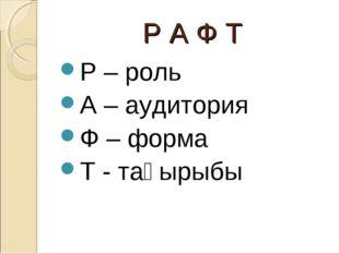 Р А Ф Т Р – роль А – аудитория Ф – форма Т - тақырыбы