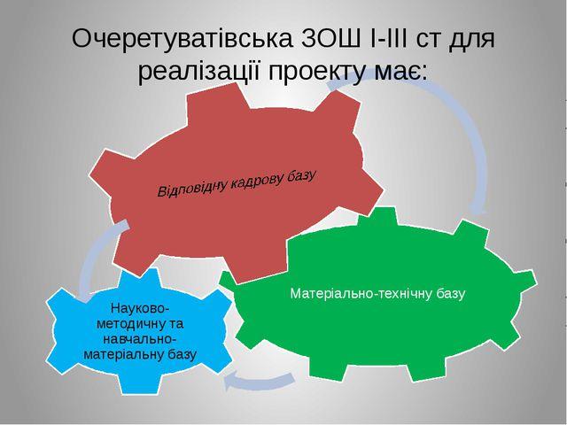 Очеретуватівська ЗОШ І-ІІІ ст для реалізації проекту має:
