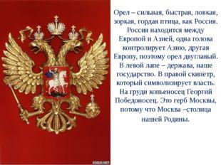 Орел – сильная, быстрая, ловкая, зоркая, гордая птица, как Россия. Россия нах
